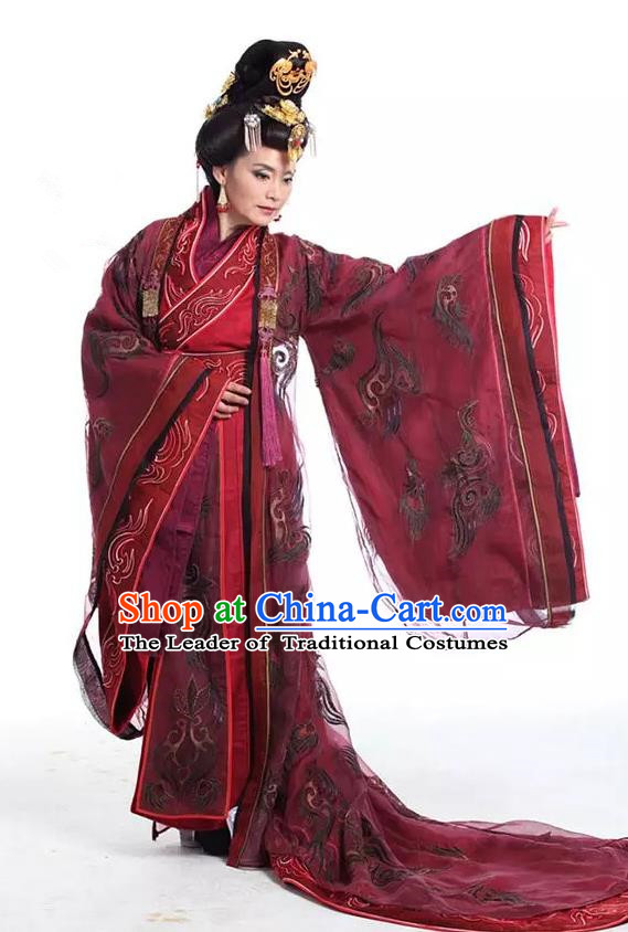 Traditional Chinese Southern and Northern Dynasties Palace Queen Dowager Embroidered Costume and Headpiece Complete Set