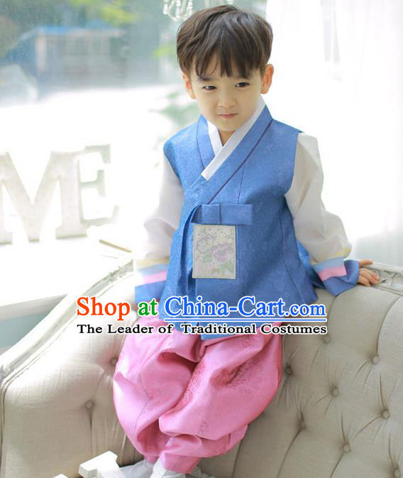 Asian Korean National Handmade Formal Occasions Embroidered Palace Prince Blue Hanbok Costume Complete Set for Boys