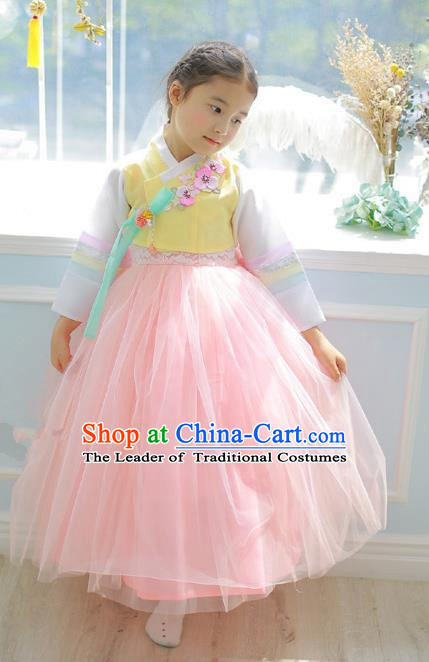 Asian Korean National Handmade Formal Occasions Embroidered Yellow Blouse and Pink Dress Palace Hanbok Costume for Kids