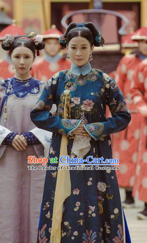 Traditional Chinese Qing Dynasty Imperial Concubine Costume, Asian China Ancient Manchu Palace Lady Embroidered Clothing for Women