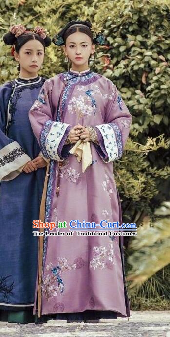 Traditional Chinese Qing Dynasty Palace Lady Costume, Asian China Ancient Manchu Imperial Concubine Embroidered Clothing for Women