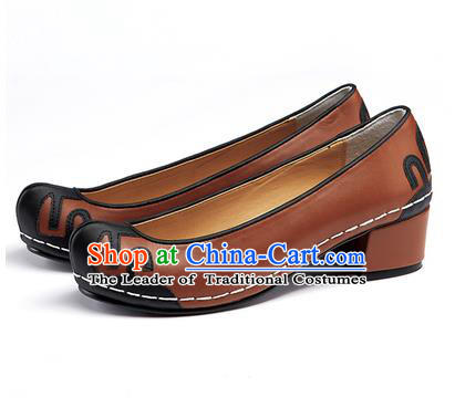 Traditional Korean National Wedding Shoes Embroidered Shoes, Asian Korean Hanbok Embroidery Brown Court Shoes for Women