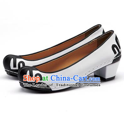 Traditional Korean National Wedding Shoes Embroidered Shoes, Asian Korean Hanbok Embroidery White Court Shoes for Women