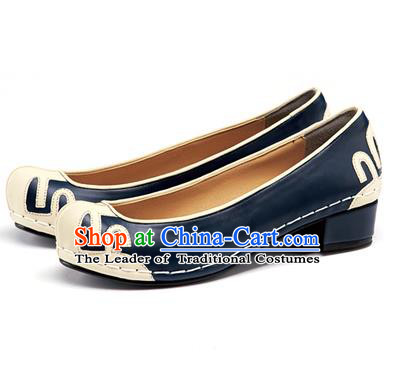 Traditional Korean National Wedding Shoes Embroidered Shoes, Asian Korean Hanbok Embroidery Blue Court Shoes for Women