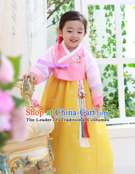 Asian Korean National Handmade Formal Occasions Wedding Embroidered Pink Blouse and Yellow Dress Traditional Palace Hanbok Costume for Kids