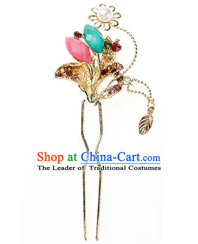 Traditional Korean National Hair Accessories Bride Wedding Crystal Butterfly Hairpins, Asian Korean Hanbok Fashion Headwear Hair Stick for Women