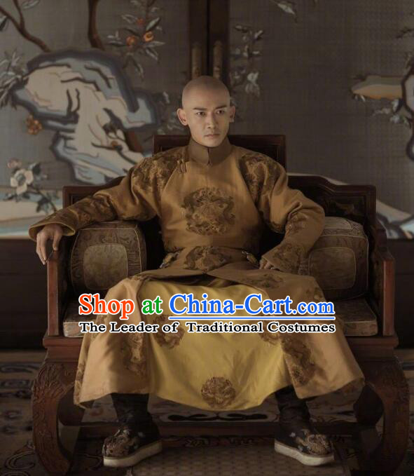 Traditional Chinese Qing Dynasty Imperial Emperor Costume, Chinese Ancient Manchu Majesty Mandarin Embroidered Informal Clothing for Men