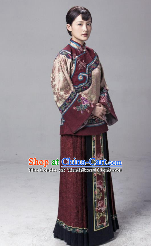 Traditional Chinese Republic of China Young Lady Costume, Asian China Ancient Countrywoman Embroidered Xiuhe Suit for Women