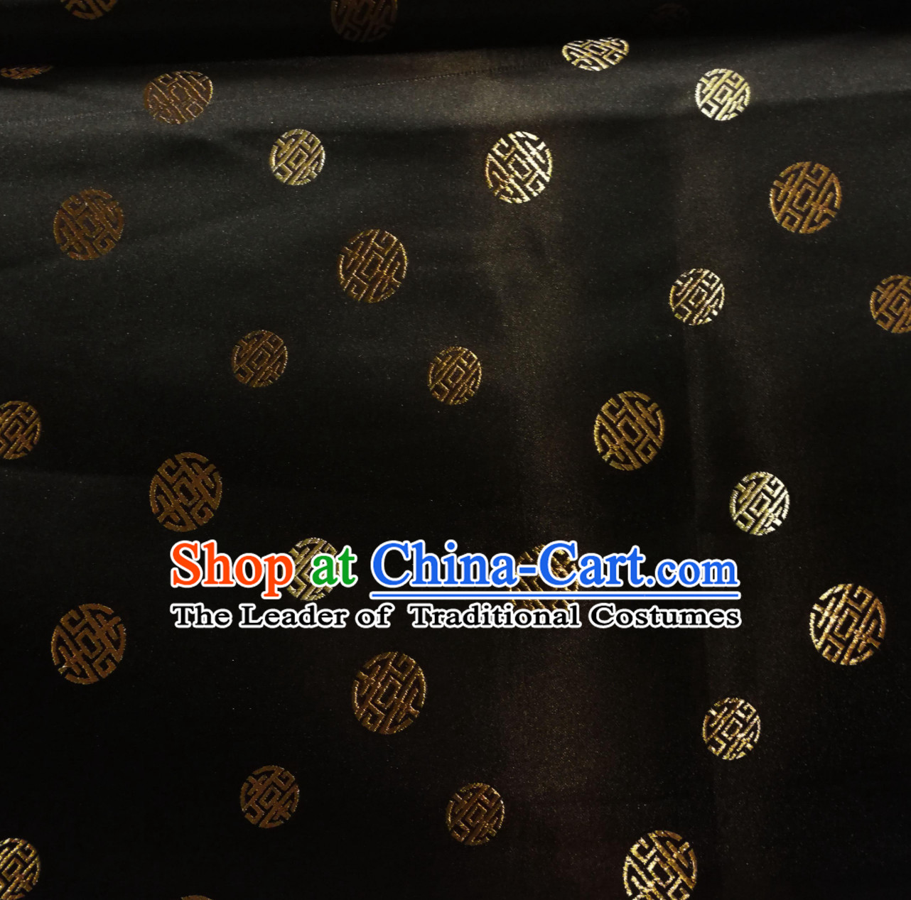 Black Color Chinese Royal Palace Style Traditional Pattern Design Brocade Fabric Silk Fabric Chinese Fabric Asian Material