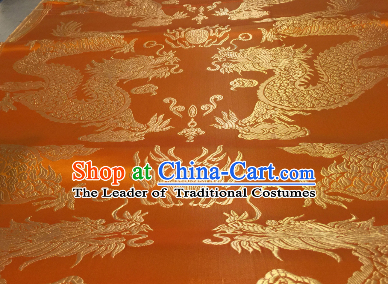 Yellow Asian Chinese Royal Palace Style Traditional Dragon Pattern Design Brocade Fabric Silk Fabric Chinese Fabric Asian Material