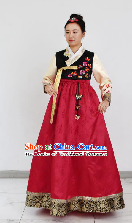 Asian Korean National Handmade Formal Occasions Clothing Bride Embroidered Black Blouse and Red Dress Palace Hanbok Costume for Women