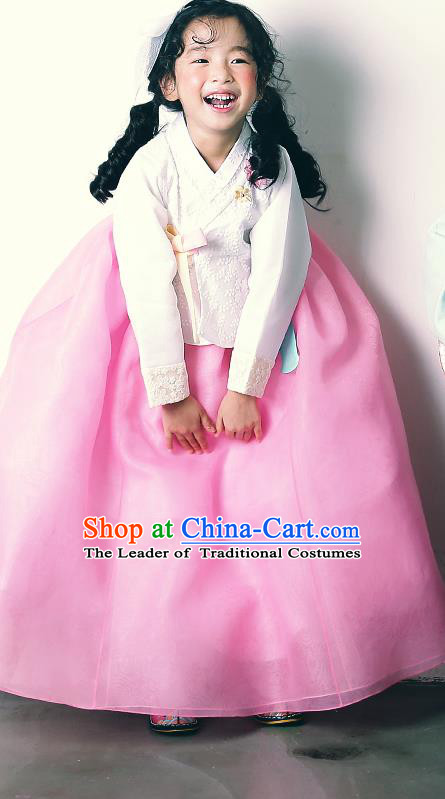 Asian Korean National Handmade Formal Occasions Wedding Girls Clothing Embroidered White Blouse and Pink Dress Palace Hanbok Costume for Kids