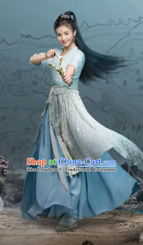 Traditional Chinese Ancinet Palace Princess Dress Legend Of Fu Yao Swordswoman Embroidered Costume for Women