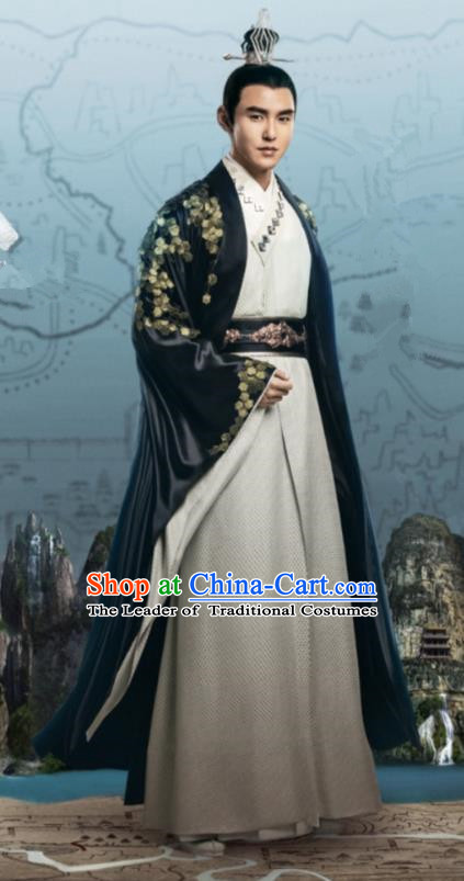 Traditional Chinese Legend Of Fu Yao Tang Dynasty Emperor Clothing, China Ancient Majesty Embroidered Costume for Men