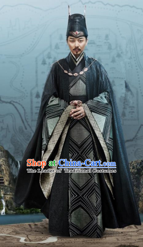 Traditional Chinese Legend Of Fu Yao Tang Dynasty Minister Clothing, China Ancient Chancellor Embroidered Costume for Men