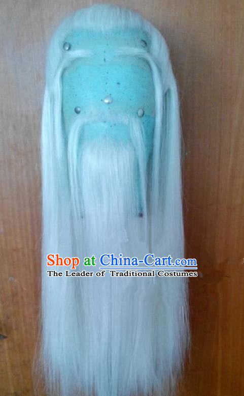 Chinese Ancient Opera Old Men Wig Beard Eyebrows Complete Set, Traditional Chinese Beijing Opera Taoist Priest White Wig Sheath for Men