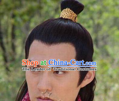Chinese Ancient Opera Swordsman Wig, Traditional Chinese Beijing Opera Prince Wig Sheath for Men