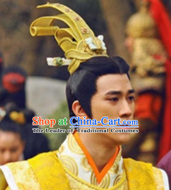Chinese Ancient Opera Swordsman Young Men Wig, Traditional Chinese Tang Dynasty Emperor Wig Sheath for Men