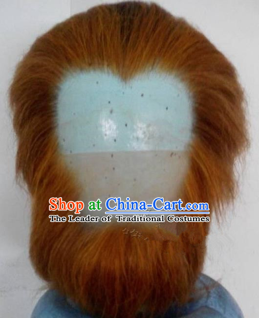 Chinese Ancient Journey to the West Handsome Monkey King Wig and Beard, Traditional Chinese Beijing Opera Monk Mustache for Men