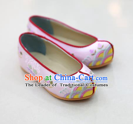 Traditional Korean National Wedding Shoes Pink Embroidered Shoes, Asian Korean Hanbok Embroidery Flat Shoes for Kids