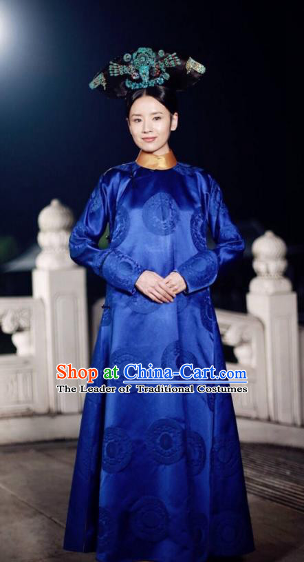 Traditional Ancient Chinese Imperial Consort Costume, Chinese Qing Dynasty Manchu Lady Mandarin Robes Imperial Concubine Embroidered Clothing for Women
