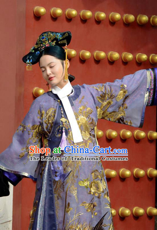 Traditional Ancient Chinese Qing Dynasty Imperial Consort Costume, Chinese Manchu Lady Mandarin Imperial Concubine Embroidered Clothing for Women