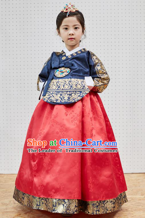 Traditional Korean National Handmade Formal Occasions Girls Clothing Palace Hanbok Costume Embroidered Navy Blouse and Red Dress for Kids
