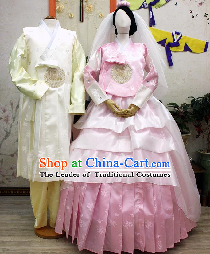Traditional Korean National Handmade Formal Occasions Wedding Clothing Bride and Bridegroom Palace Hanbok Embroidered Costume Complete Set
