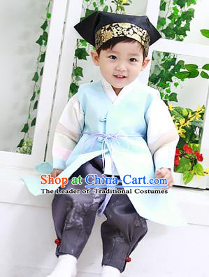 Asian Korean National Traditional Handmade Formal Occasions Boys Embroidery Clothing Blue Vest Hanbok Costume Complete Set for Kids
