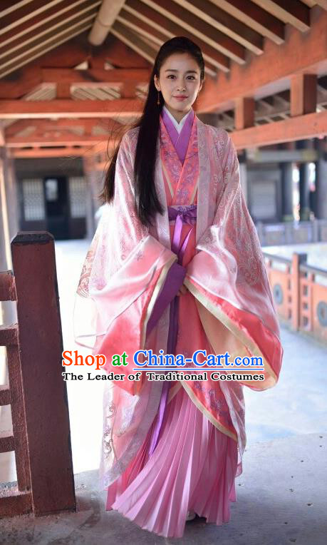 Traditional Chinese Southern and Northern Dynasties Imperial Princess Costume, Chinese Ancient Palace Lady Embroidered Clothing for Women