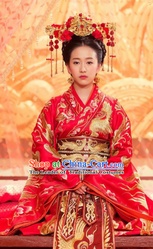 Traditional Chinese Southern and Northern Dynasties Palace Princess Wedding Costume, Chinese Ancient Bride Embroidered Red Clothing for Women