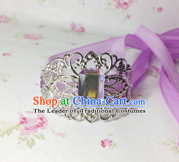 Traditional Handmade Chinese Ancient Classical Hair Accessories Royal Highness Purple Crystal Tuinga Hairdo Crown for Men