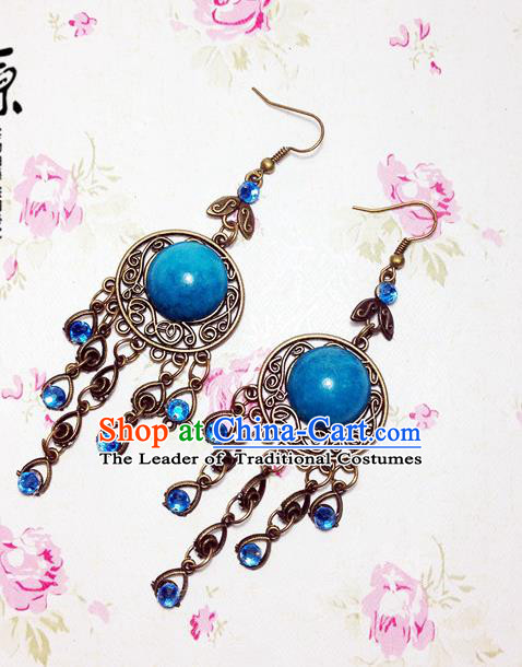 Traditional Handmade Chinese Ancient Classical Accessories Bride Wedding Xiuhe Suit Hanfu Blue Long Tassel Earrings for Women