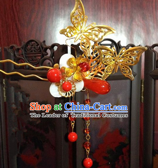 Traditional Chinese Ancient Classical Hair Accessories Princess Butterfly Hair Comb Tassel Step Shake Hairpins for Women