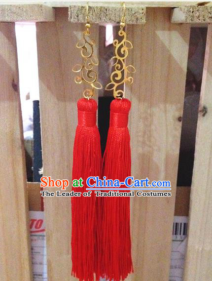 Traditional Handmade Chinese Ancient Classical Accessories Bride Wedding Xiuhe Suit Red Tassel Earrings for Women