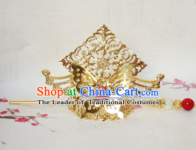 Traditional Handmade Chinese Classical Hair Accessories, Ancient Royal Highness Golden Butterfly Tuinga Hairdo Crown for Men