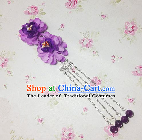Traditional Chinese Ancient Classical Hair Accessories Hanfu Purple Flowers Tassel Step Shake Bride Hairpins for Women
