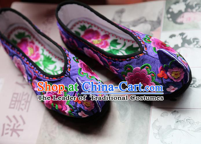 Asian Chinese Traditional Shoes Bride Purple Embroidered Shoes, China Peking Opera Handmade Embroidery Peony Shoe Hanfu Princess Shoes for Women
