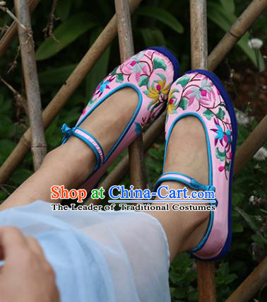 Asian Chinese Traditional Shoes Bride Pink Embroidered Shoes, China Peking Opera Handmade Embroidery Lotus Shoe Hanfu Princess Shoes for Women