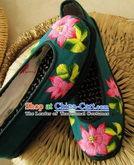 Asian Chinese Traditional Shoes Bride Green Xiuhe Suit Embroidered Shoes, China Peking Opera Handmade Embroidery Lotus Shoe Hanfu Princess Shoes for Women