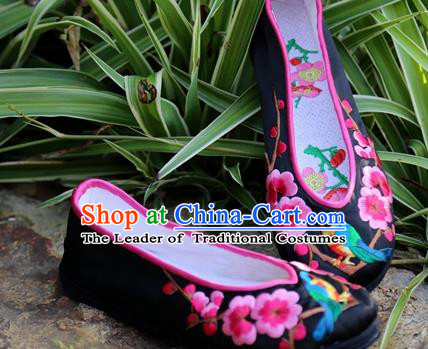 Asian Chinese Traditional Shoes Black Embroidered Shoes, China Peking Opera Handmade Embroidery Wintersweet Shoe Hanfu Princess Shoes for Women
