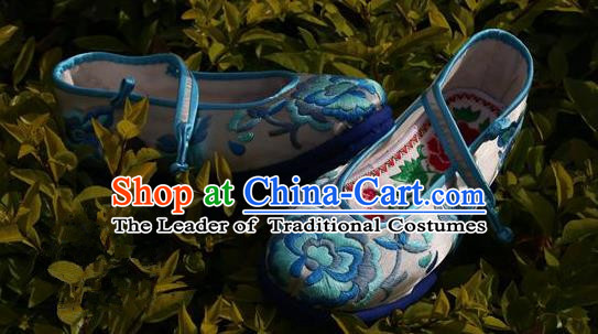 Asian Chinese Traditional Shoes Blue Bride Embroidered Shoes, China Peking Opera Handmade Embroidery Shoe Hanfu Princess Shoes for Women