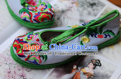 Asian Chinese Traditional Shoes Green Bride Embroidered Shoes, China Peking Opera Handmade Embroidery Shoe Hanfu Princess Shoes for Women