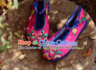 Asian Chinese Traditional Shoes Rosy Bride Embroidered Shoes, China Peking Opera Handmade Embroidery Shoe Hanfu Princess Shoes for Women