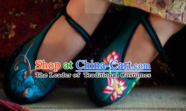 Asian Chinese Traditional Shoes Wedding Bride Green Embroidered Shoes, China Peking Opera Handmade Embroidery Lotus Hanfu Shoes for Women
