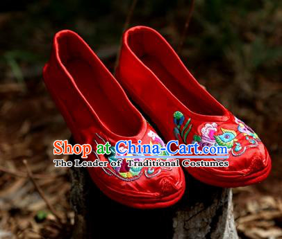 Asian Chinese Traditional Shoes Wedding Embroidered Shoes, China Peking Opera Hand Embroidery Red Shoe Hanfu Princess Shoes for Women