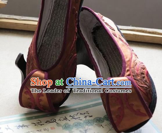 Asian Chinese Traditional Shoes Wedding Bride Brown Embroidered Shoes, China Peking Opera Handmade Embroidery Hanfu Shoes for Women