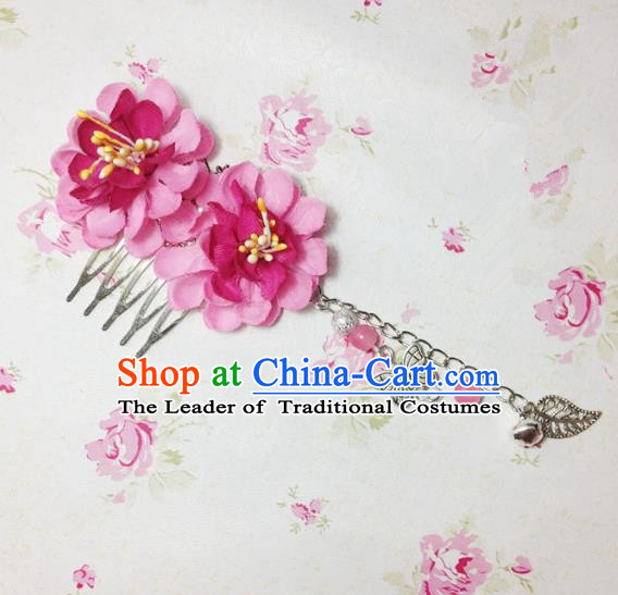 Traditional Chinese Ancient Classical Hair Accessories Hanfu Rosy Flowers Hair Comb Bride Butterfly Tassel Hairpins for Women