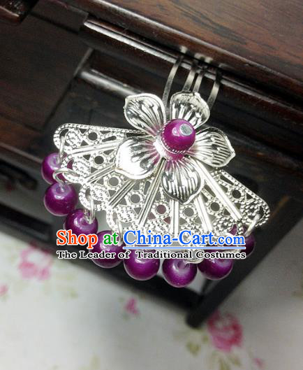 Traditional Chinese Ancient Classical Hair Accessories Hanfu Purple Beads Tassel Hair Clip Bride Hairpins for Women