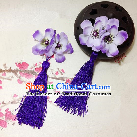 Traditional Chinese Ancient Classical Hair Accessories Hanfu Purple Flowers Tassel Hair Stick Bride Hairpins for Women